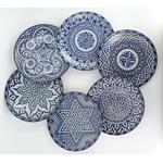 Assiettes en céramique bleu de Fès - Maroc - Lot de 6