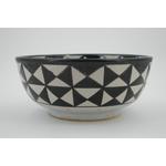 Saladier noir & blanc géométrique en céramique de Fès - Maroc