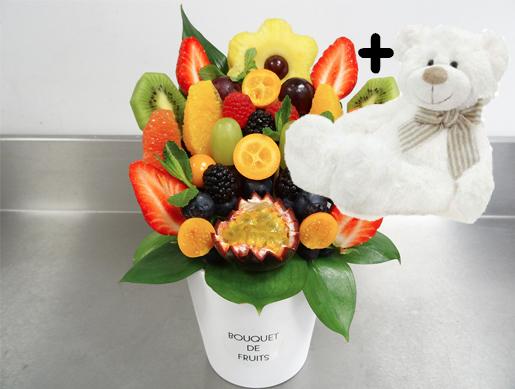 Bouquet de fruits C&J - Petit avec peluche Naissance