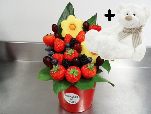 Bouquet de fruits FRANANAS - Petit avec peluche Naissance