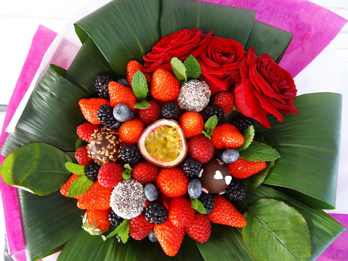 Bouquet de fraises amour