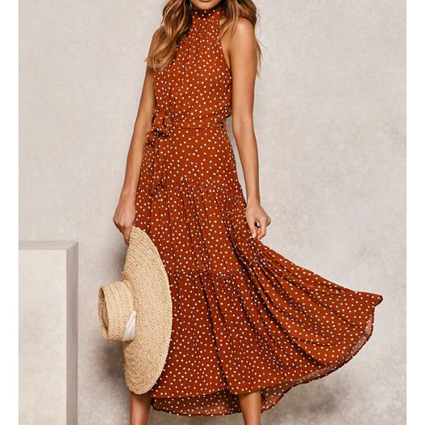 robe longue femme été 2020 imprimée à pois fluide rouge 2