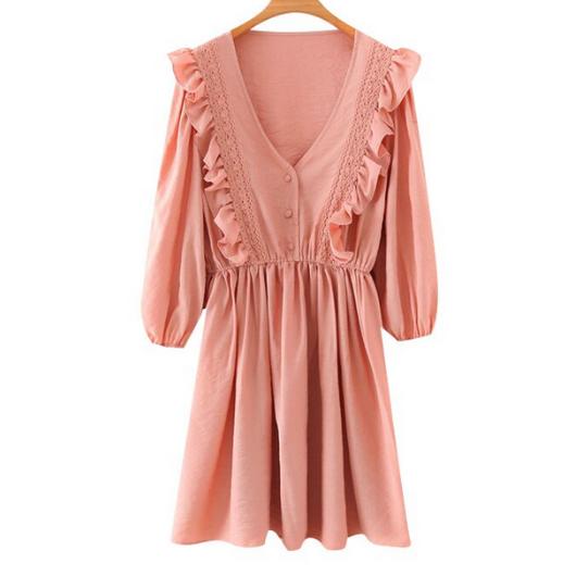 robe courte rose broderies volants femme la selection parisienne