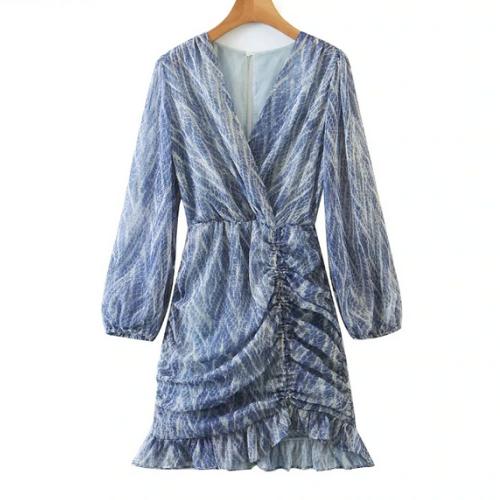 La mini robe imprimée bleu Montsouris