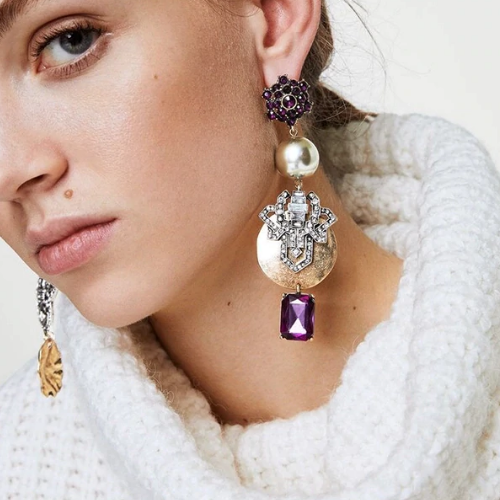 Boucles d\'oreilles pendantes perles multicolores Montmartre