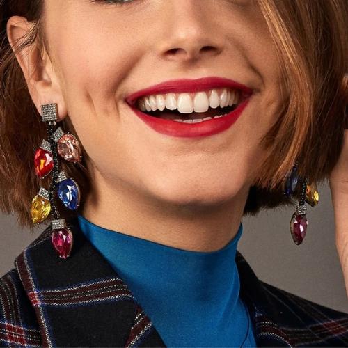 Boucles d\'oreilles pendantes cristaux feuilles Montsouris