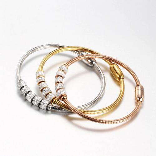 Bracelet magnétique en acier inoxydable & cristaux Trocadéro