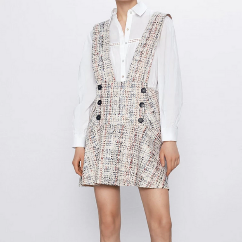 La Robe salopette blanche tweed Trocadéro
