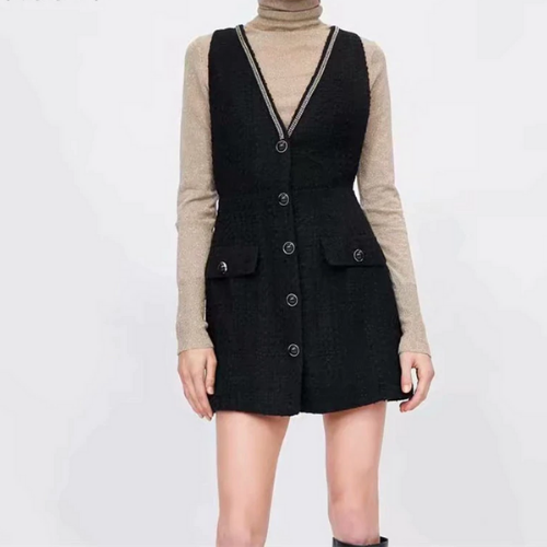 La mini robe noire tweed St Germain