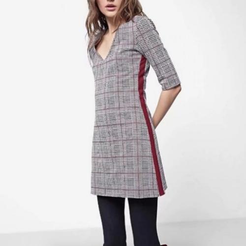 Robe courte à carreaux grise & bordeaux St Germain