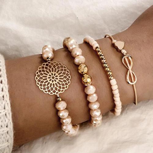 Ensemble bracelets perles rose Montmartre