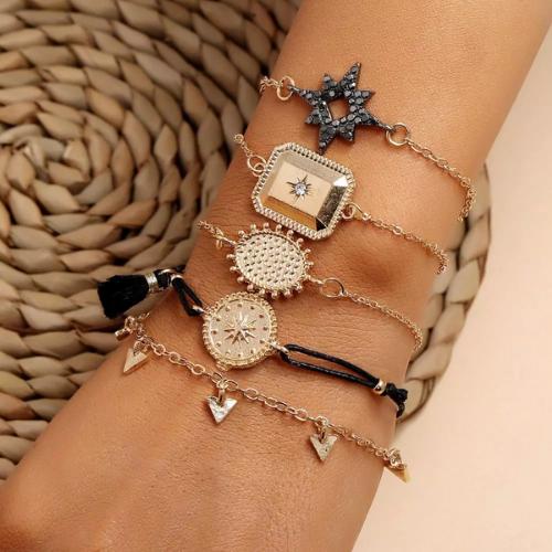 ensemble bracelets boho fantaisie noir doré pour femme tendance pas cher en ligne