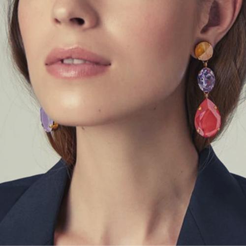 Boucles d\'oreilles cristal multicolores Quai de Seine