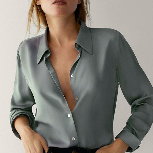chemise en soie vert d'eau femme satin basique chic boutique en ligne