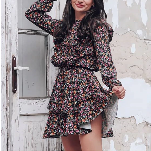 Short floral print dress with ruffles woman spring summer 2021