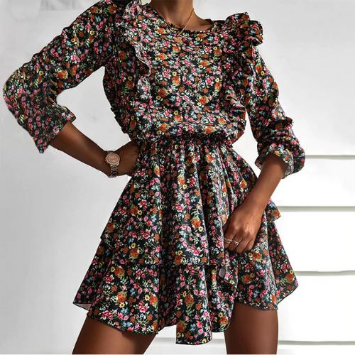 Women's short floral print dress with ruffles