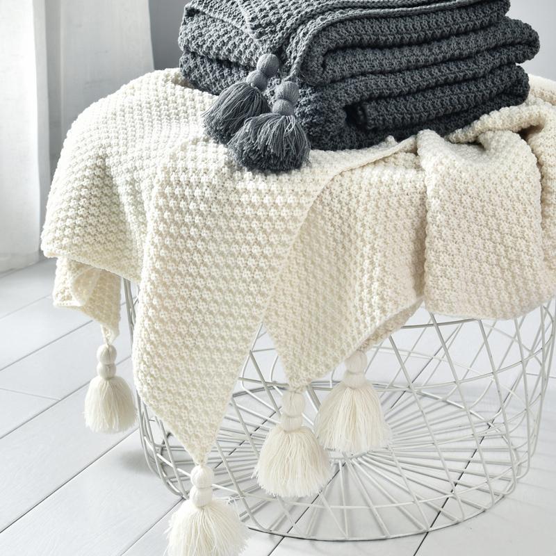 Couverture tricotée en laine