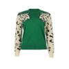 Pull sweat vert lion leopard dessin mode femme automne hiver 2020 en ligne la selection parisienne
