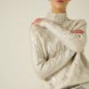Pull métallisé blanc demi col roulé eshop mode en ligne