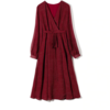 robe longue rouge imprimée à pois croisée manches longues mode femme en ligne automne hiver 1