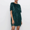 robe courte à paillettes sequins verte fêtes fin d'année femme en ligne pas cher la selection parisienne
