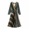 robe mi longue imprimée vert beige chic femme automne hiver eshop mode pas cher en ligne la selection parisienne 1