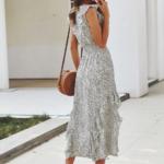 robe midi à volants blanche à pois noirs 3