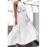 robe longue femme été 2020 imprimée à pois fluide blanche 2