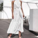 robe longue femme été 2020 imprimée à pois fluide blanche 1