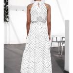 robe longue femme été 2020 imprimée à pois fluide blanche