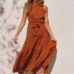 robe longue femme été 2020 imprimée à pois fluide rouge 1