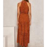 robe longue femme été 2020 imprimée à pois fluide rouge 3