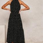 robe longue femme été 2020 imprimée à pois fluide rouge noir