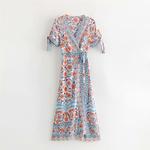 Robe portefeuille V imprimée bleu femme boho 6