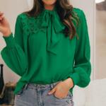 blouse verte fluide à noeud femme pas cher en ligne