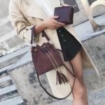 sac sceau effet daim femme marron pas cher la selection parisienne