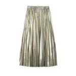 jupe plissée métallisée doré la selection parisienne mode femme