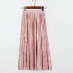 jupe plissée métallisée rose pale la selection parisienne mode femme