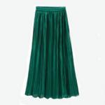 jupe plissée métallisée verte la selection parisienne mode femme