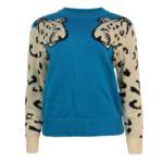 Pull sweat bleu canard lion leopard dessin mode femme automne hiver 2020 en ligne la selection parisienne