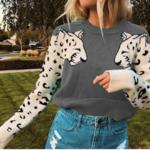 Pull sweat gris lion leopard dessin mode femme automne hiver 2020 en ligne