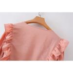 robe courte rose broderies volants femme la selection parisienne mode