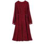 robe longue rouge imprimée à pois croisée manches longues mode femme en ligne automne hiver 2