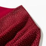 robe longue rouge imprimée à pois croisée manches longues mode femme en ligne automne hiver 4