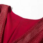 robe longue rouge imprimée à pois croisée manches longues mode femme en ligne automne hiver 3