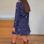 robe bleue imprimée coeurs courte à manches longues pour femme mode automne hiver en ligne 1
