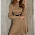 robe courte dhiver beige ceinturée à manches longues chic sophistiquée pas cher femme en ligne la selection parisienne 1