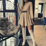 robe courte dhiver beige ceinturée à manches longues chic sophistiquée pas cher femme en ligne la selection parisienne 5