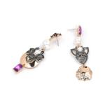 boucles doreilles pendantes multicolores montmartre chic soirée femme 2