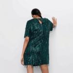 robe courte à paillettes sequins verte fêtes fin dannée femme en ligne pas cher la selection parisienne 1